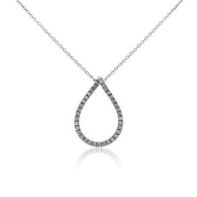 14k White Gold Open Diamond Pear Shape Pendant Necklace