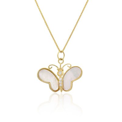 18k Yellow Gold 0.065ctw Diamond Mother Of Pearl Butterfly Necklace