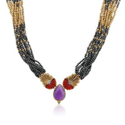 Lagos 14k Yellow Gold Caviar Bead Hematite, Diamond and Amethyst Necklace
