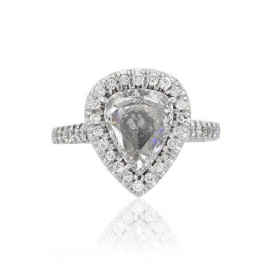 18k White Gold 2.24ct Pear Shape GIA Diamond Halo Engagement Ring
