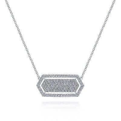 Gabriel & Co. NK5576W45JJ 14K White Gold 0.86ctw Diamond Geometric Pendant Necklace