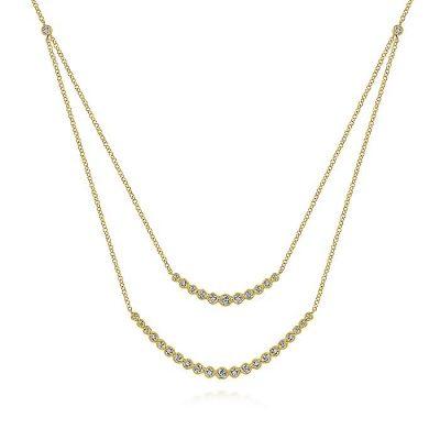 Gabriel & Co. NK6190Y45JJ 14K Yellow Gold 0.75ctw Diamond Curved Bar Necklace