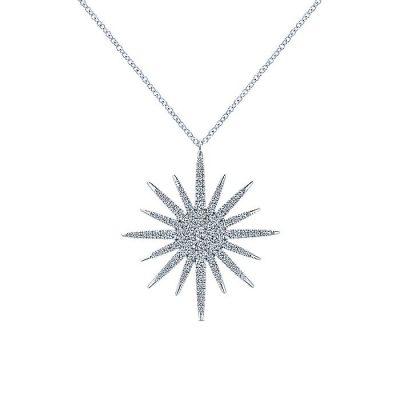 Gabriel & Co. NK5308W45JJ 14K White Gold 0.80ctw Diamond Starburst Large Pendant Necklace
