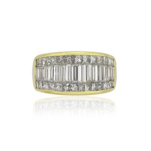 18k Yellow Gold 2.50ctw Baguette And Round Brilliant Diamond Wide Ring