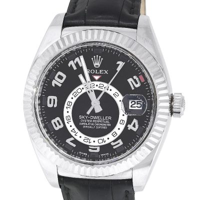 Rolex 326139 Sky-Dweller 18k White Gold Black Dial Watch