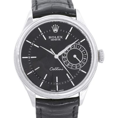 Rolex 50519 White Gold Cellini Black Dial Guilloche Watch