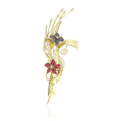 Majorica 18k Yellow Gold Multi-Gemstone Freeform Pin