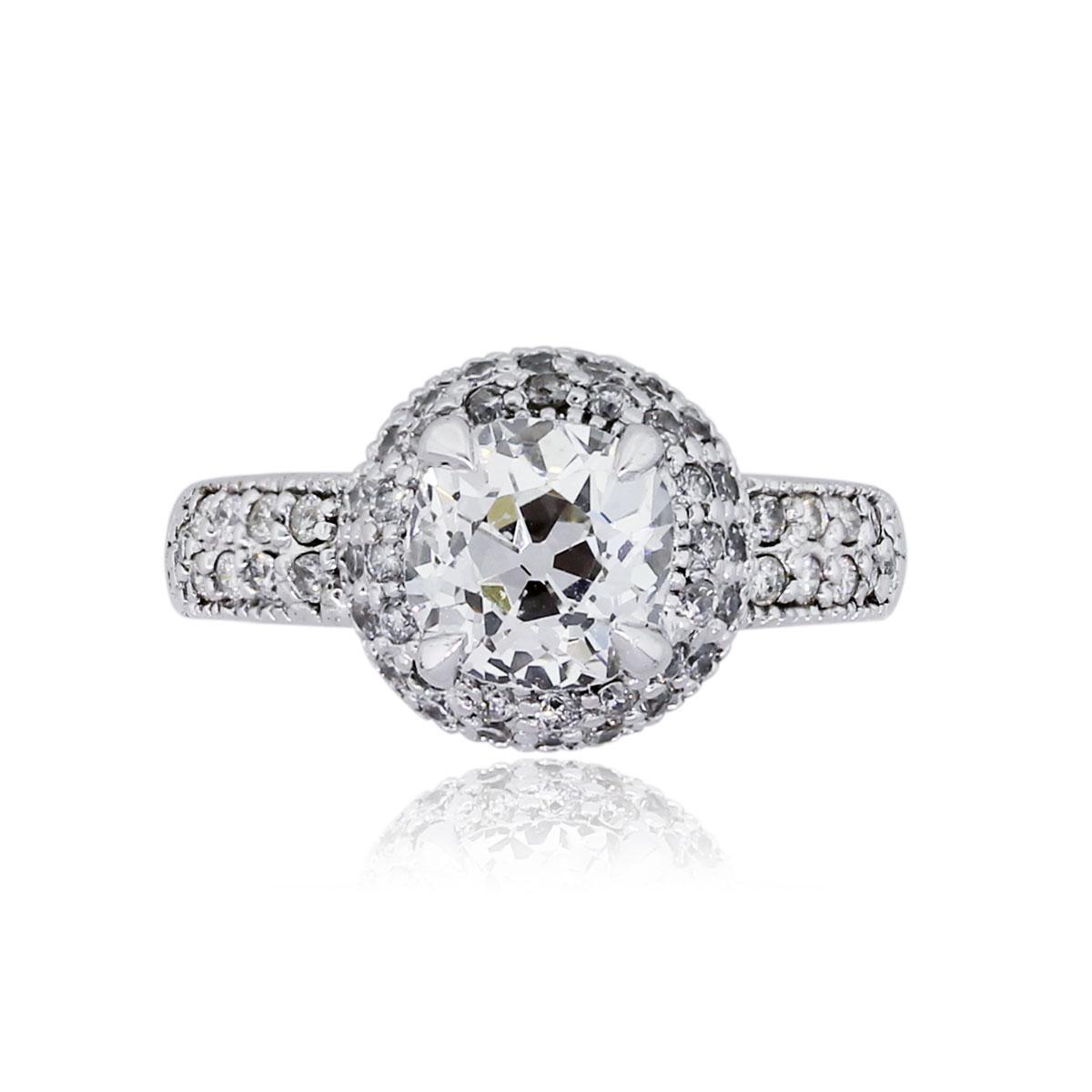 18k White Gold 2.30ctw Diamond Double Halo Diamond Engagement Ring