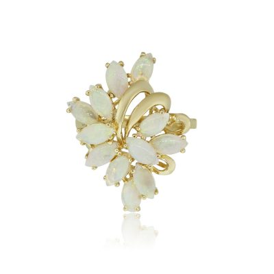 14k Yellow Gold Opal Cabochon Marquise Flower Ring