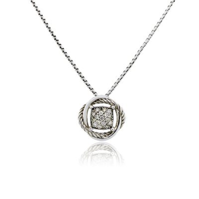 David Yurman Sterling Silver 0.24ctw Diamond Pave Infinity Pendant Necklace