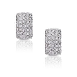 18k White Gold 1.47ctw Diamond Pave Earrings
