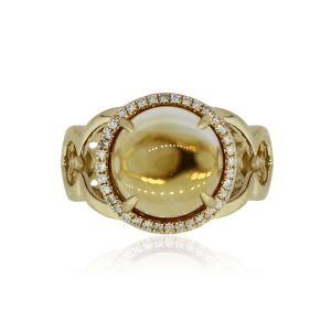 Effy 14k Yellow Gold Round Cabochon Citrine and 0.36ctw Diamond Halo Ring