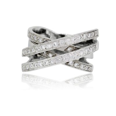 18k White Gold 0.40ctw Diamond Wide Crossover Ring