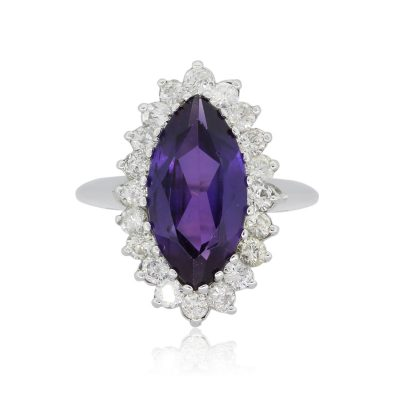 14k White Gold 1.40ctw Diamond and Marquise Shape Amethyst Cocktail Ring