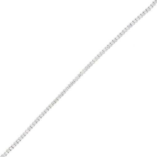 14k White Gold 4.11ctw Diamond Thin Tennis Bracelet