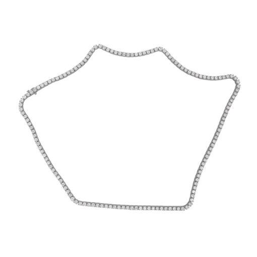 "14k White Gold 29.46ctw Round Diamond 22"" Tennis Necklace"