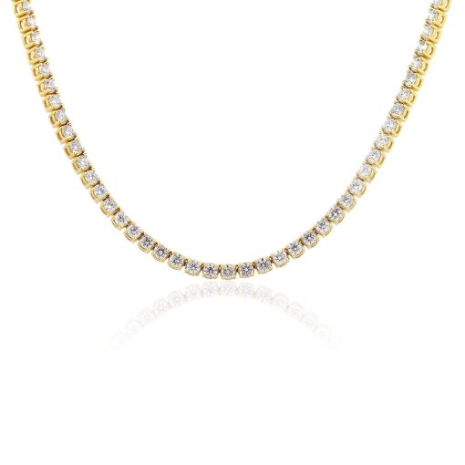 "14k Yellow Gold 30.77ctw Round Brilliant Diamond 24"" Tennis Necklace"