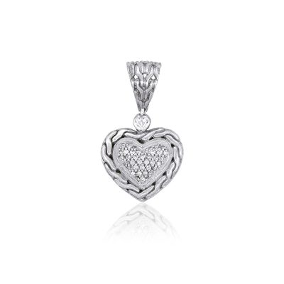 John Hardy Sterling Silver Diamond Heart Shaped Pendant