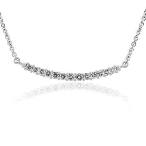 18k White Gold 1ctw Round Diamond Bar Ladies Necklace