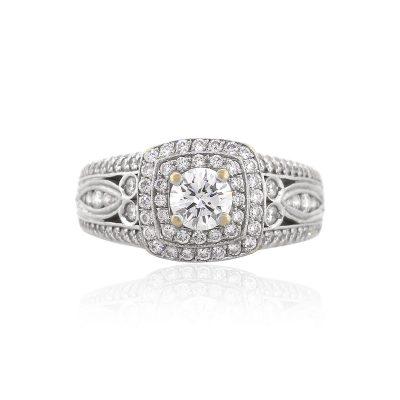 18k White Gold 2.60ctw Round Cut Diamond Engagement Ring