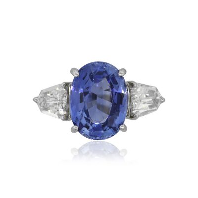 14k White Gold 6.13ct GIA Oval Sapphire Ring With Diamonds