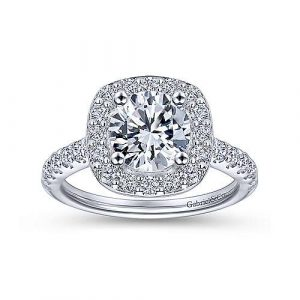 Gabriel & Co. ER9321W44JJ 14k White Gold Diamond Halo Engagement Ring