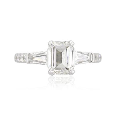 Gabriel & Co. 14k White Gold 1.06ct Emerald Cut GIA Diamond Ring