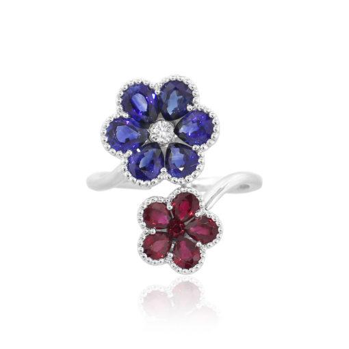 18k White Gold Multi-Stone Double Flower Ladies Ring