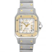 Cartier 2423 Santos Galbee Two Tone Silver Textured Dial Ladies Watch