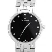 Movado Faceto Stainless Steel Black Dial Diamond Bezel Watch