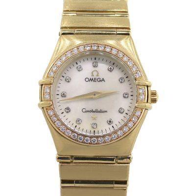 Omega Constellation 18k Yellow Gold MOP Dial Diamond Bezel Watch