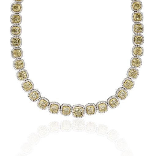 14k White Gold 55.31ctw of Large Fancy Yellow and White Diamond Necklace