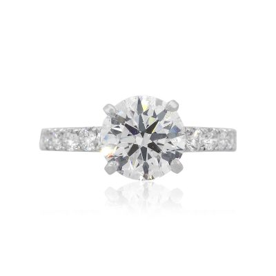 14k White Gold 2.08ct Round Brilliant GIA Diamond Engagement Ring