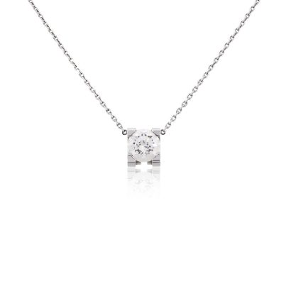 Cartier 18k White Gold GIA Certified 1.11ct Solitaire Diamond Necklace