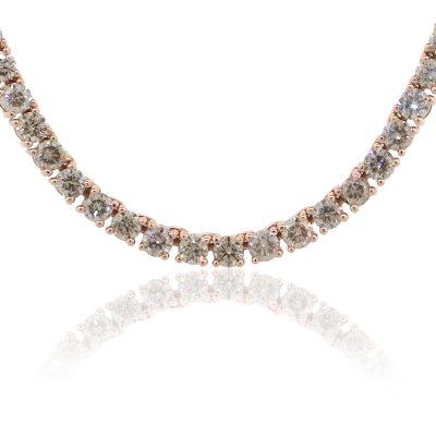 14k Rose Gold 54.15ctw Round Brilliant Diamond Mens Tennis Necklace