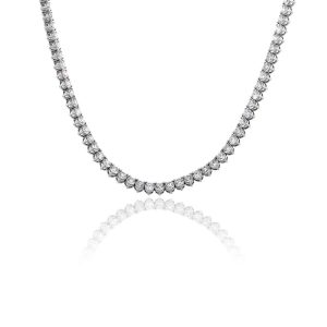 14k White Gold 44.45ctw Round Brilliant Diamond Mens Tennis Necklace