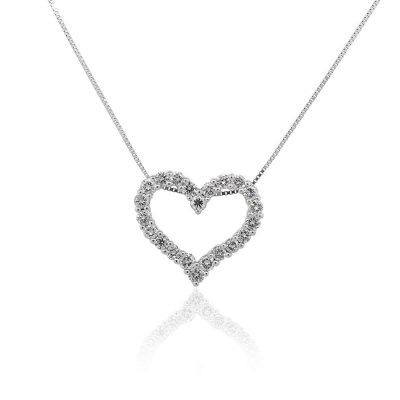 14k White Gold 1.25ctw Round Diamond Heart Shaped Pendant Necklace