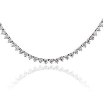 14k White Gold 11ctw Round Brilliant Diamonds Tennis Necklace