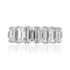 18k White Gold 3ctw Emerald Cut Diamond Wedding Band