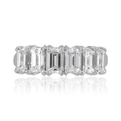 18k White Gold 3ctw Emerald Cut Diamond Wedding Band