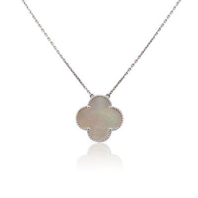 Van Cleef & Arpels 18k White Gold Mother of Pearl Single Alhambra Motif Necklace