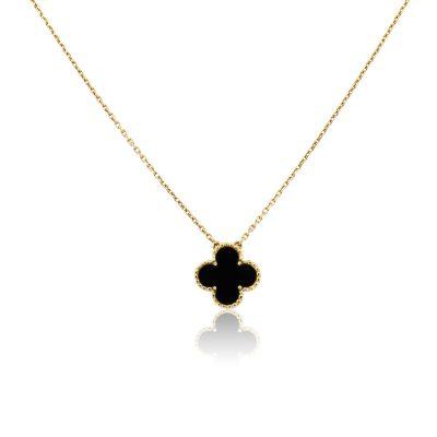 Van Cleef & Arpels 18k Yellow Gold Onyx Single Alhambra Motif Necklace