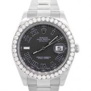 Rolex 116334 Datejust II Stainless Steel Black Roman Dial Watch