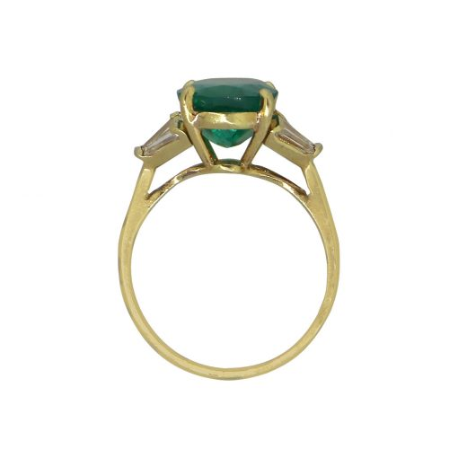 18k Yellow Gold 4.07ct AGL Oval Emerald Ring With Diamonds