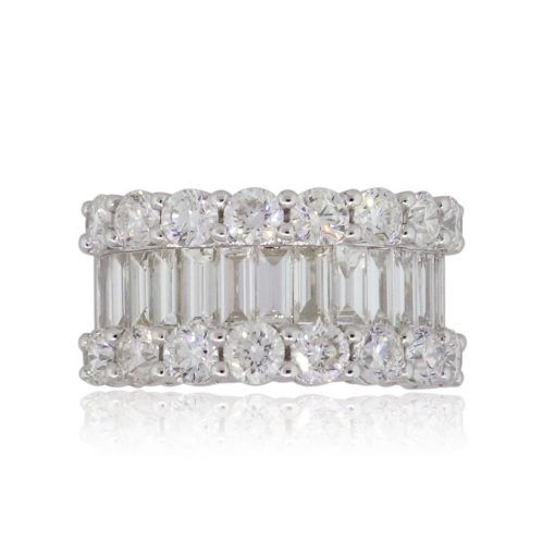 18k White Gold 4.90ctw Baguette and Round Shape Diamond Wide Band