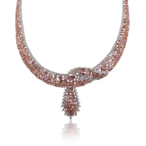18k Two Tone Gold 51.11ctw Multi Shape Pink and White Diamond Cluster Necklace