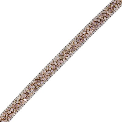 18k Two Tone Gold 17.51ctw Pink and White Multi Shape Diamond Custer Bracelet