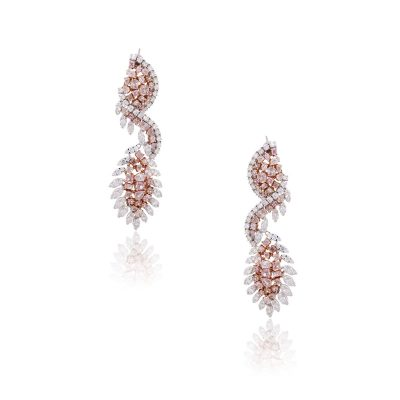 18k Two Tone Gold 16.43ctw White and Multi Shape Pink Diamond Drop Earrings