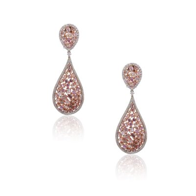 18k Two Tone Gold 9.68ctw White and Multi Shape Pink Diamond Tear Drop Cluster Earrings