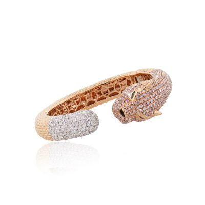 18k Rose Gold 10.39ctw Diamond Pave and 0.25ctw Emerald Braided Bangle